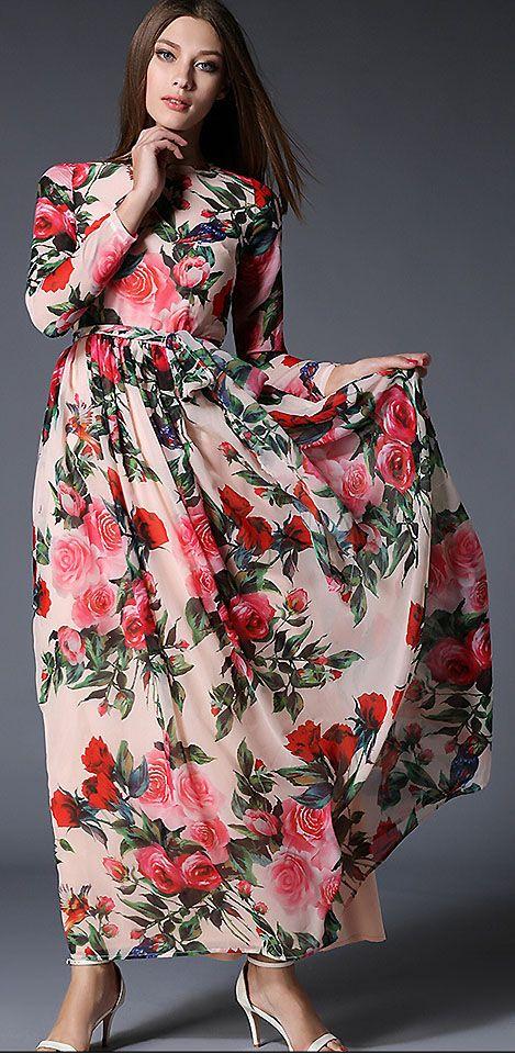 5f78430a4cc Chic Chiffon Floral Print High Waist Long Sleeve Maxi Dress  DressSure    design    shopping    party    ootd     fashion    summer    pretty     lace    ...