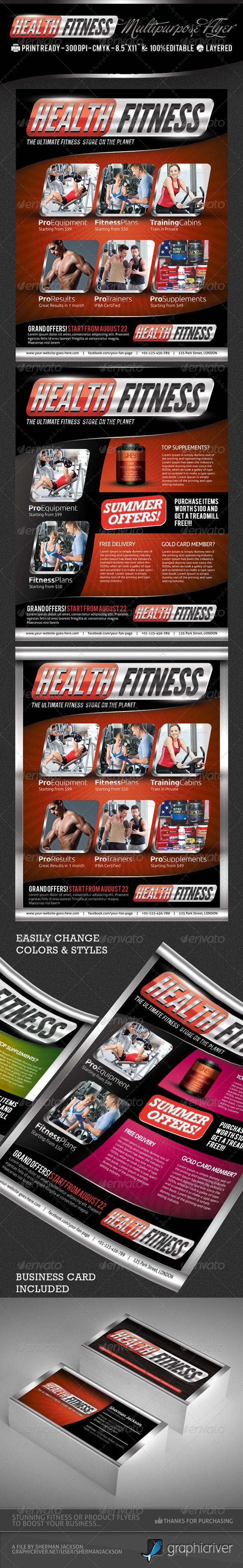 health fitness pro flyer business card psd