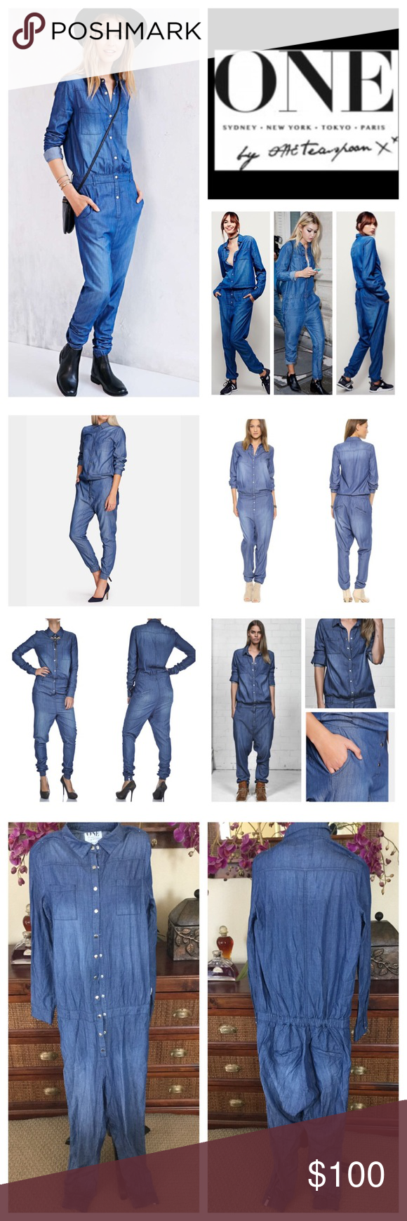 "Free People One Teaspoon Defender Jumpsuit. NWOT. Free People One X One Teaspoon Defender Utility Chambray Jumpsuit, 50% cotton, 50% bamboo, machine washable, 29"" elastic waist which stretches up to 34"", 19.5"" arm inseam, 10"" front rise, 14"" back rise, 26"" inseam, long sleeves with snap cuffs, breast pockets, side pockets, back pockets, lightweight, belt loops, collar at neckline, relax fit through the body, slight dropped crotch, elastic ankle cuffs with One Teaspoon label on left leg…"