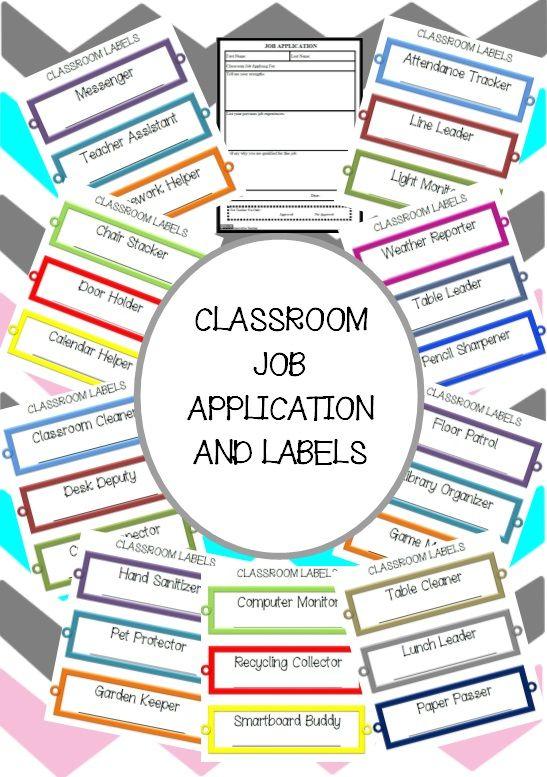 Classroom Job Application And Labels  Classroom Job Application