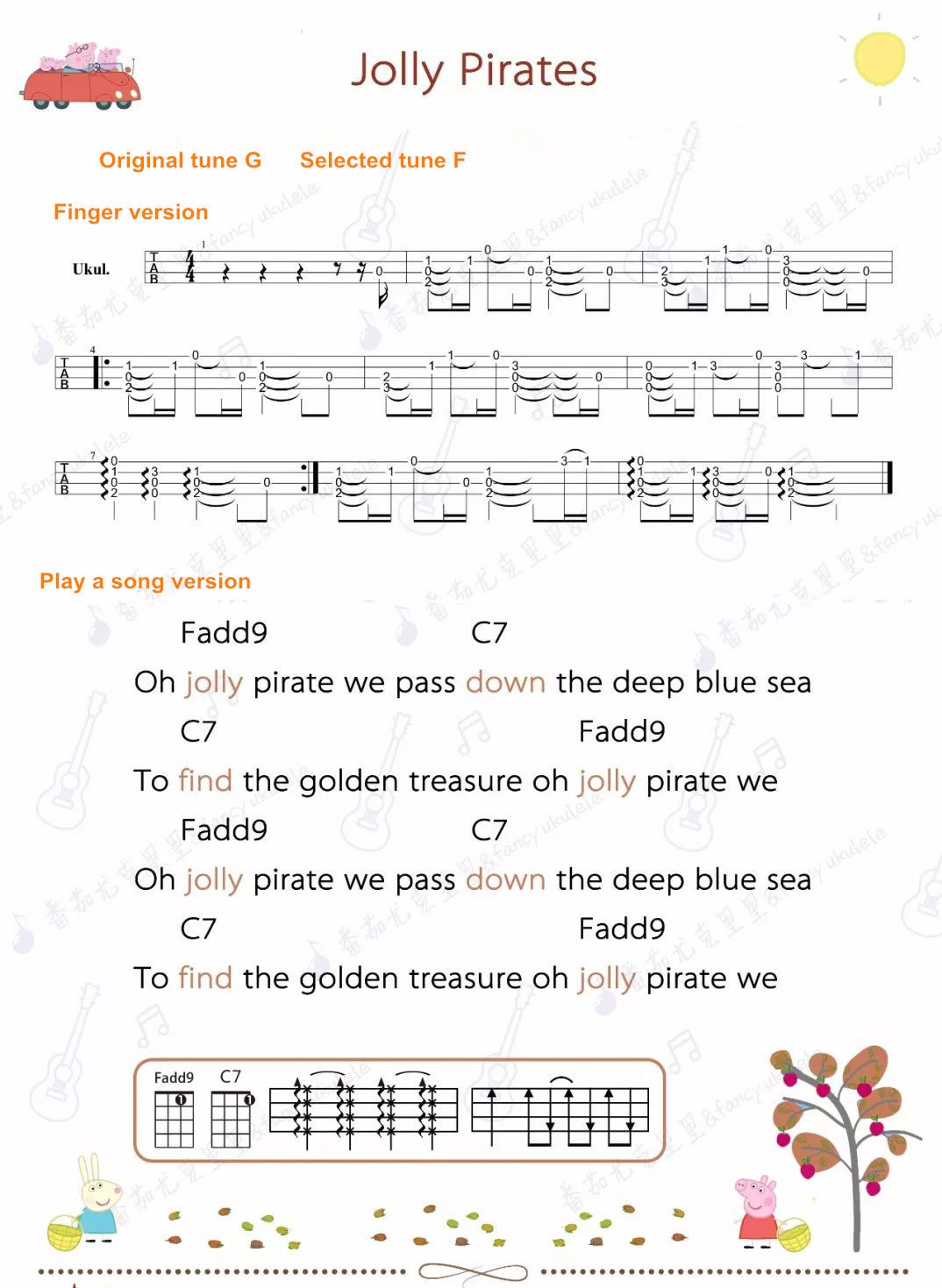 Peppa Pig Ukulele Sheet Jolly Pirates Peppa Pig Songs Pirate Songs Songs