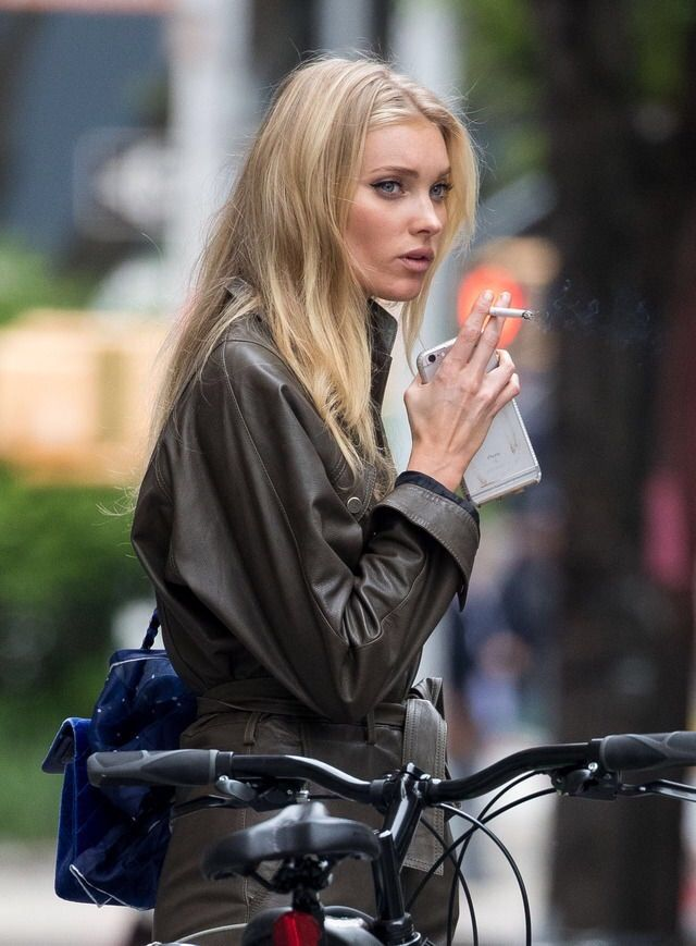 Elsa Hosk smoking a cigarette (or weed)