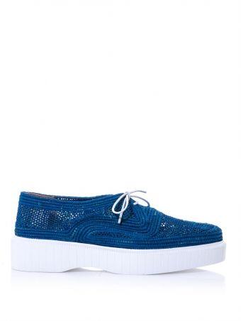 ロベール・クレジュリー(Robert Clergerie)ブライトブルーシアウォーベンラフィアオックスフォード Poco raffia lace-up shoes (177314) 1