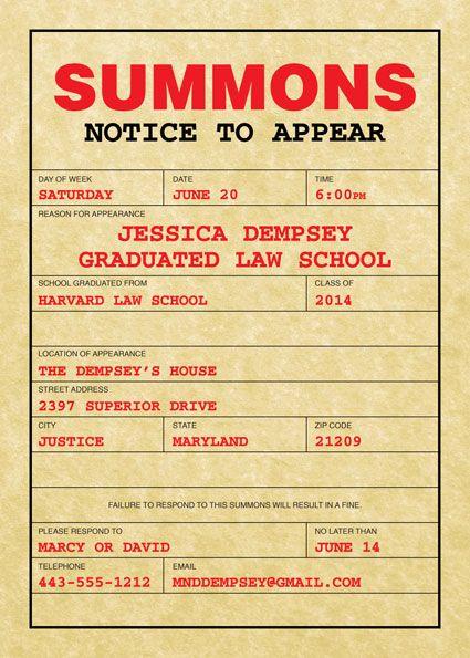 Graduation Law School Subpoena Invitation My Style Pinterest - fresh birthday invitation jokes