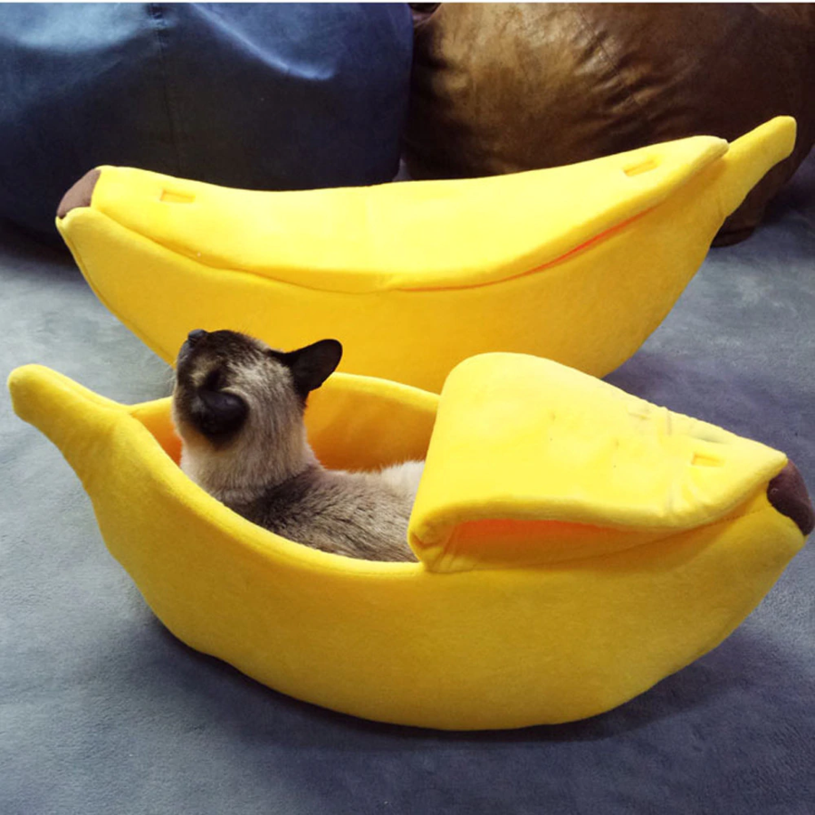 Cute Banana Shaped Soft and Cuddly Cat Bed Кошачьи