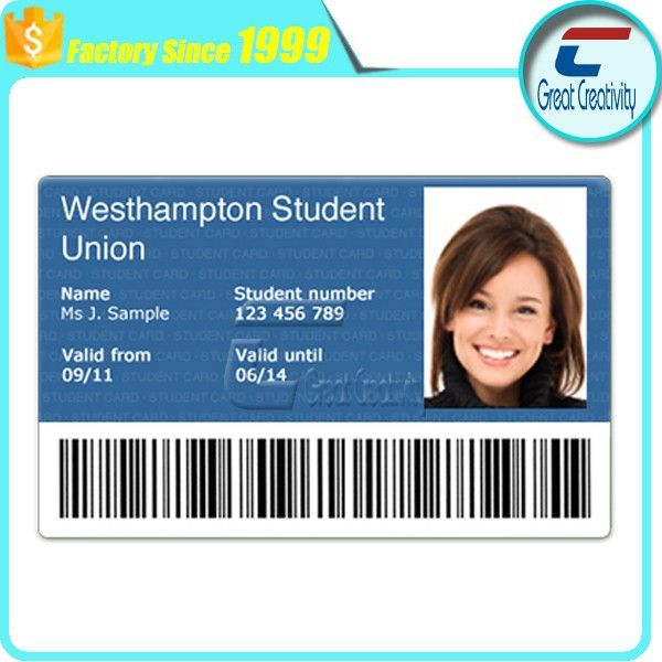 customized plastic photo id cards/school student id cards/offset