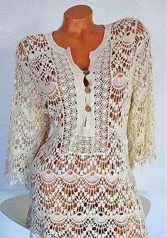 Patrón #1662: Blusa de Encaje a Ganchillo | CTejidas [Crochet y Dos ...