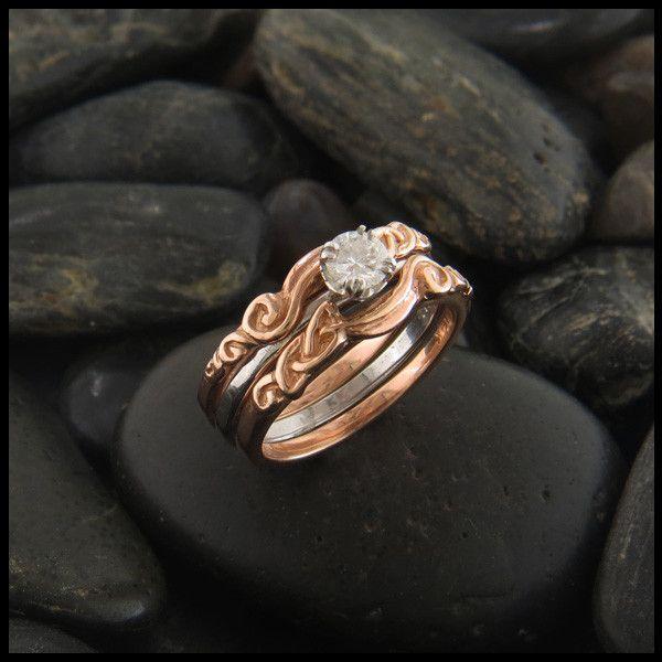 Three Piece Wedding Set Interlocking Wedding Rings Sets Celtic Engagement Rings Celtic Wedding Ring Sets