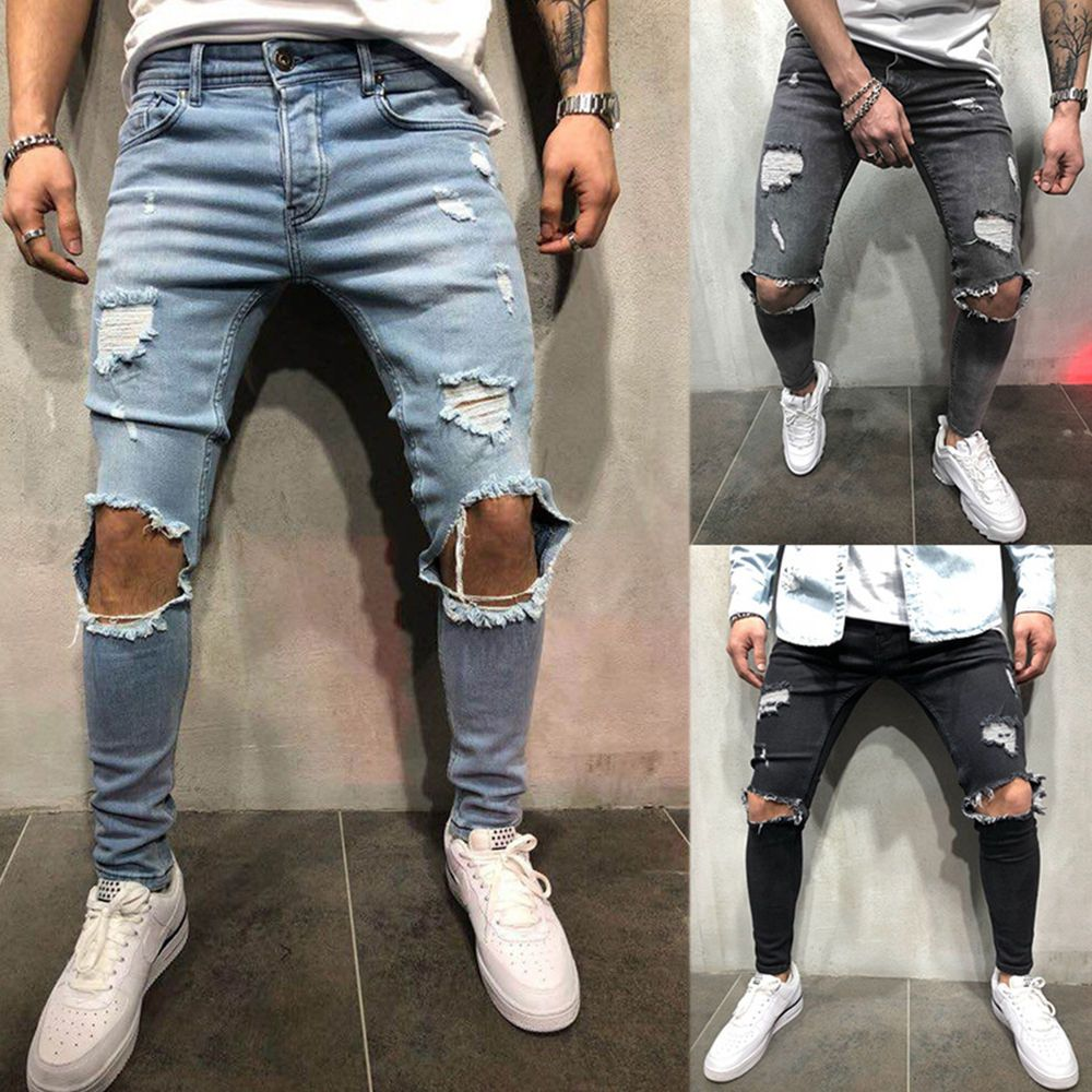 Men Skinny Stretchy Jeans Destoryed Ripped Frayed Denim Pants Slim Fit Trousers