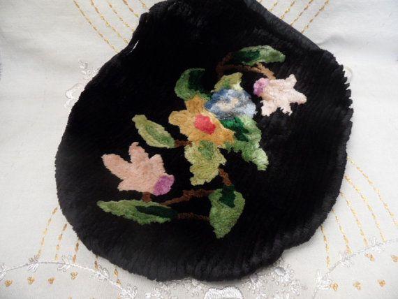 Chenille toilet seat cover, black and floral / vintage, retro bath