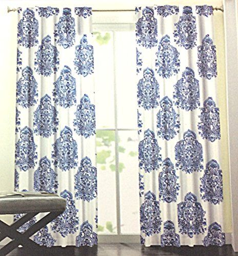 Nicole Miller Medallion Pair Of Curtains In Blue White Colors Medallion  Print China Paisley 52 By