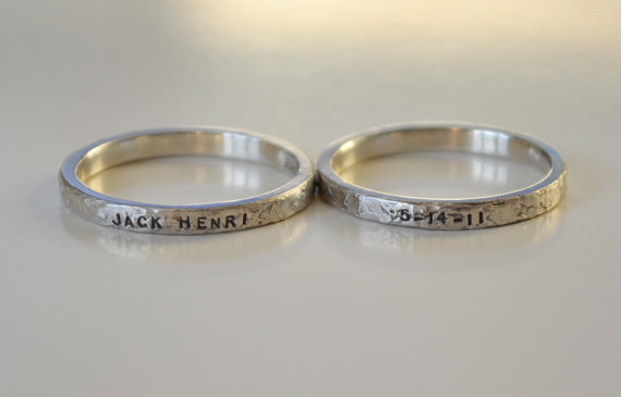 Personalized hand stamped name rings with date, Baby name rings with birth date, Stackable name rings, remembrance ring