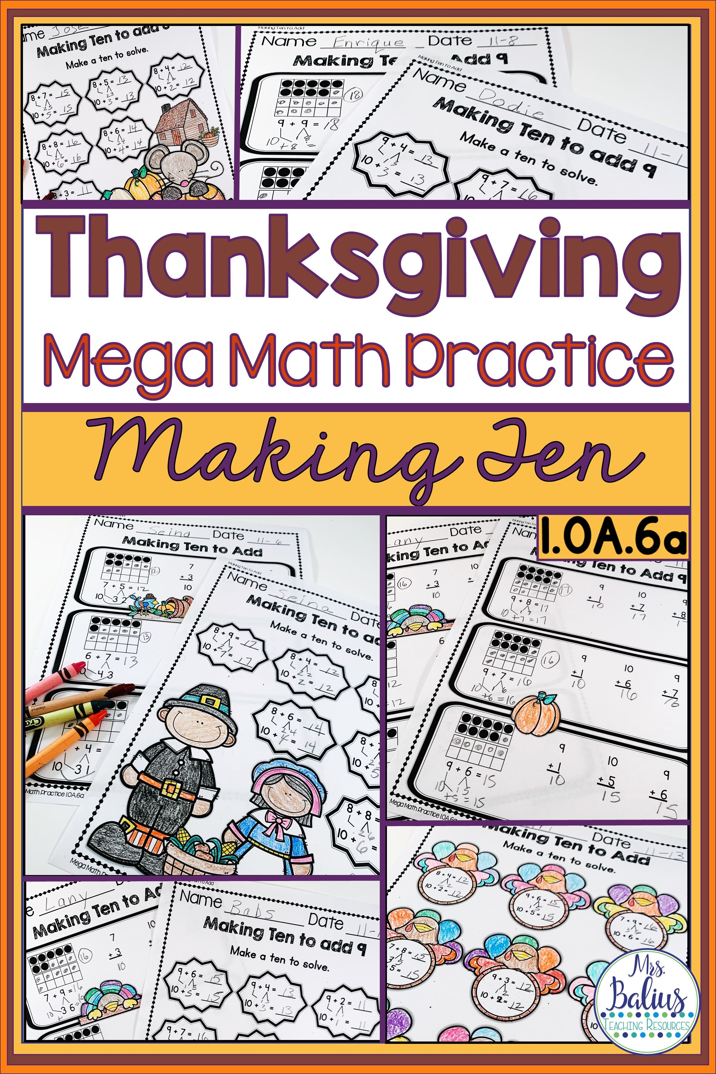 Thanksgiving Math Making Ten To Add Mega Practice 1 Oa 6a
