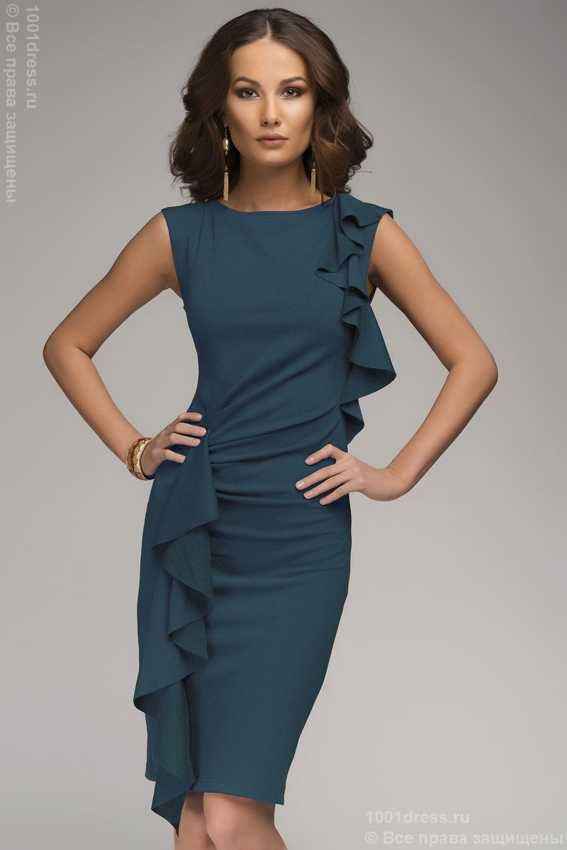 e7ce8029f6c Платье бирюзовое с воланами и без рукавов. Голубой в интернет магазине  Платья для самых красивых 1001dress.Ru