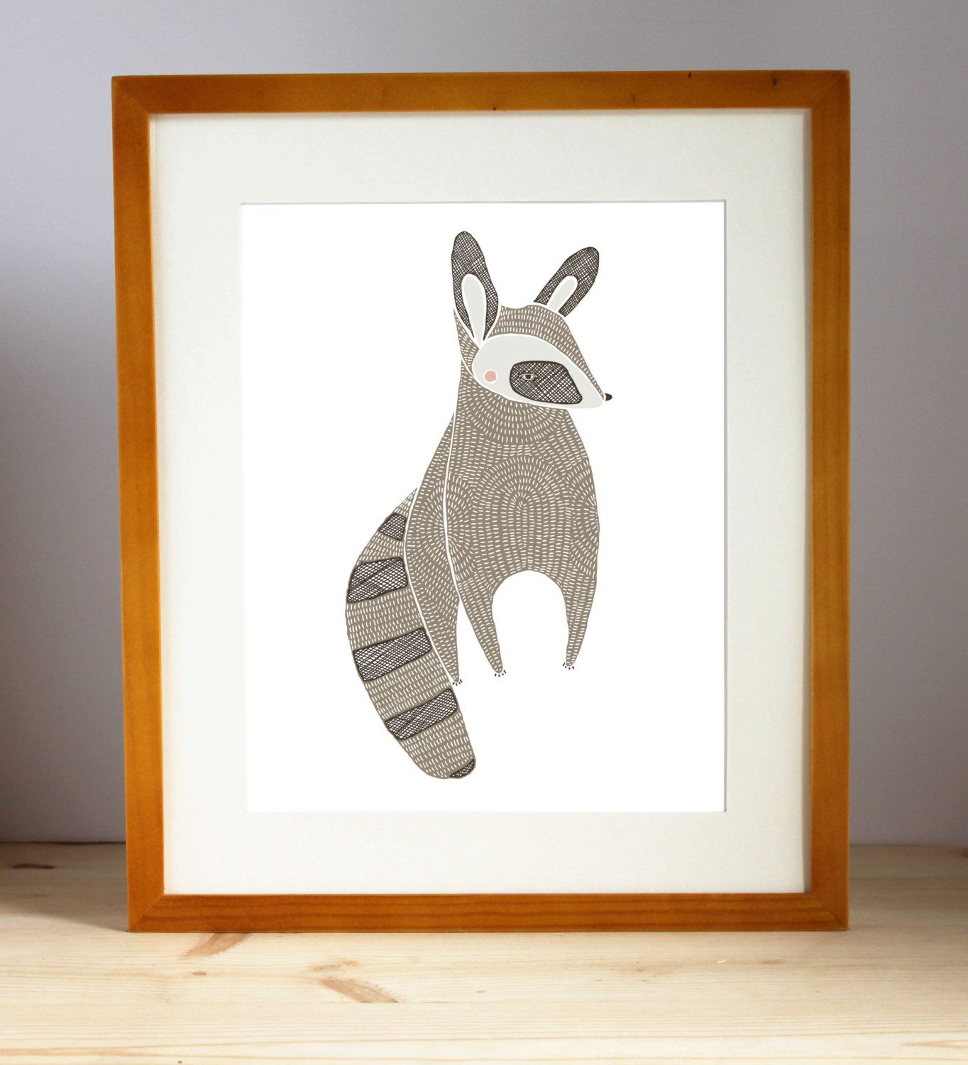 raccoon print nursery art by gingiber by gingiber on etsy wall