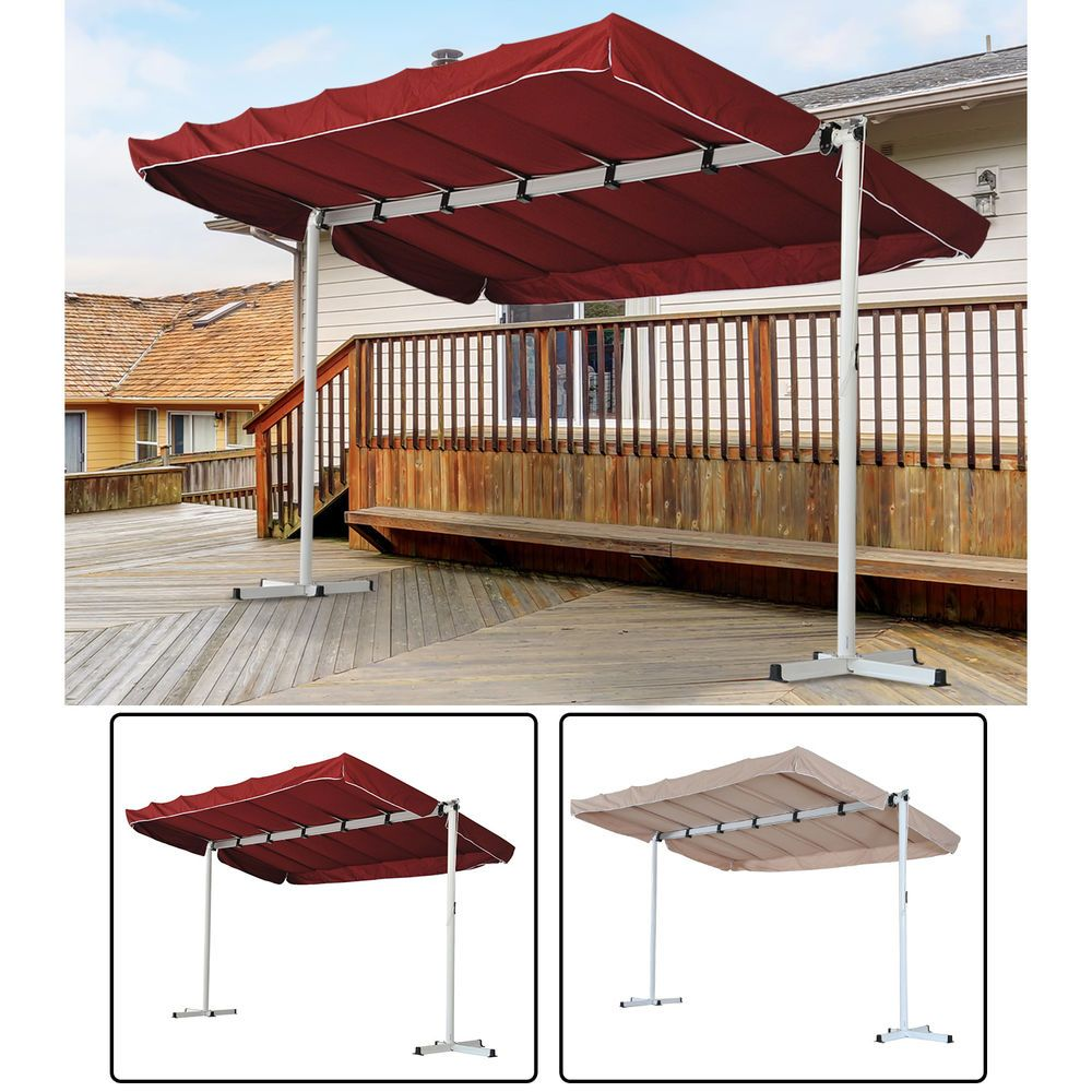 Garden Sun Shade Folding Canopy  Awning Sun Shade Collapsible Patio Outdoor NEW