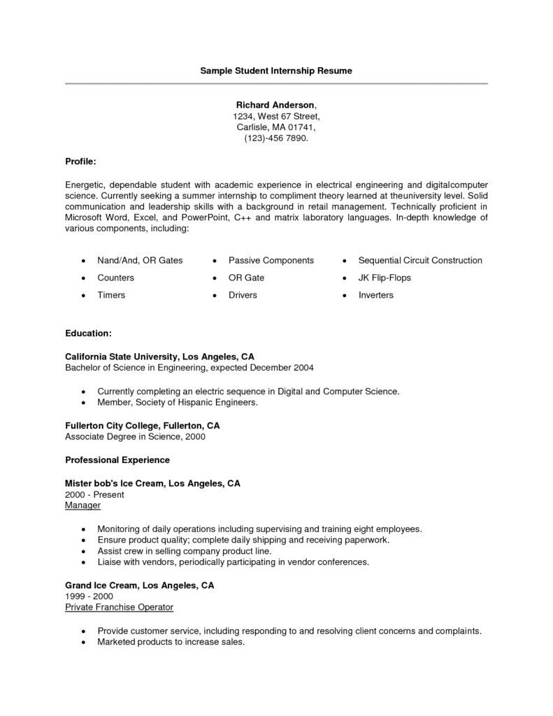 Sample Resume For College Student Sample Resume Internship Intern Cover Letter  Home Design Idea