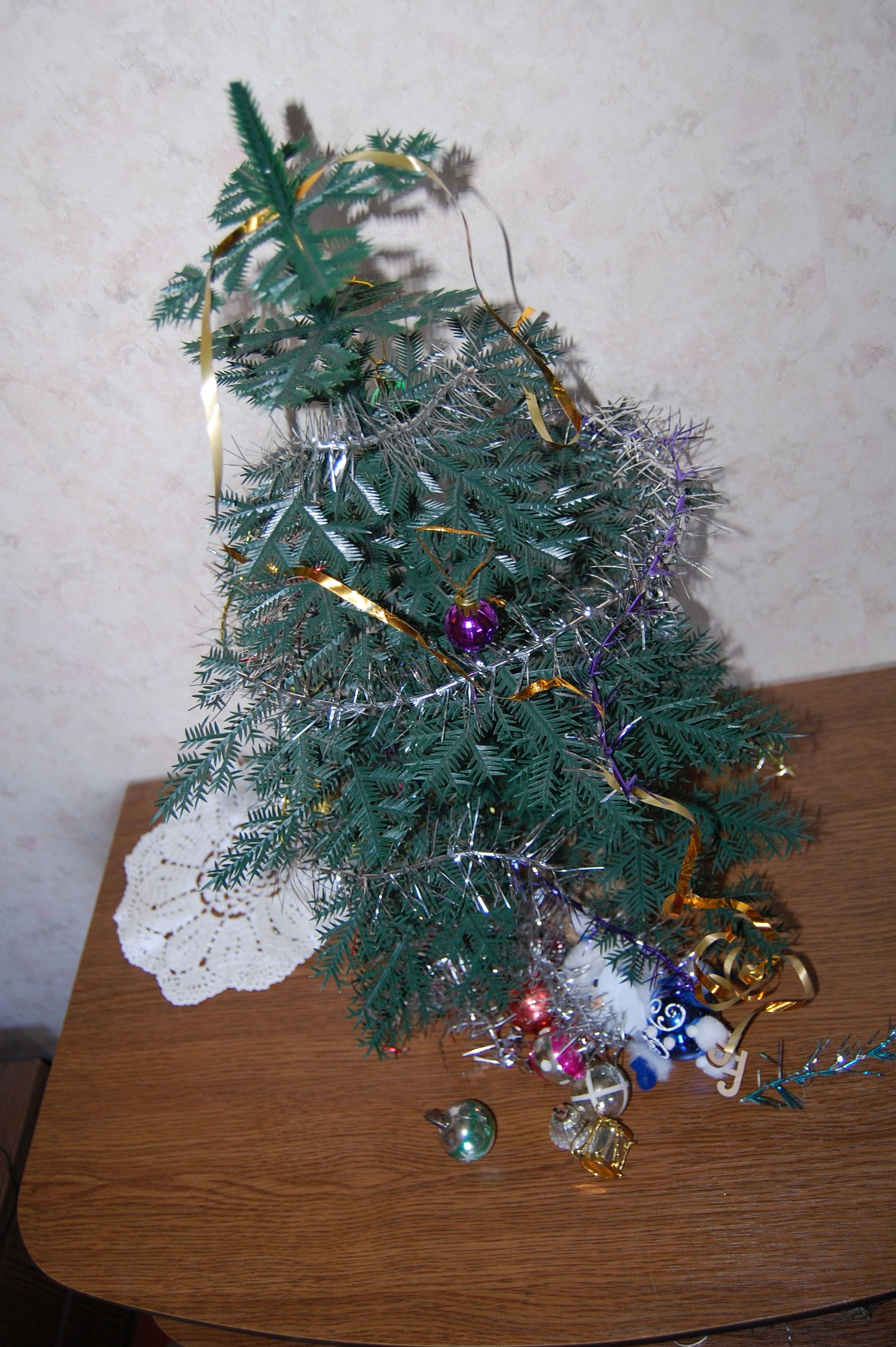 Small Plastic Christmas Tree With Ornaments, 53Cm, Soviet Xmas Tree,