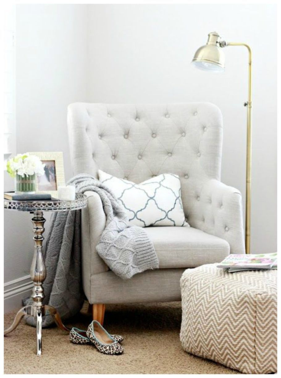 Reading Chairs For Bedroom Buttoned Back Bedroom Reading Chair With Arms And Chevron Puff A