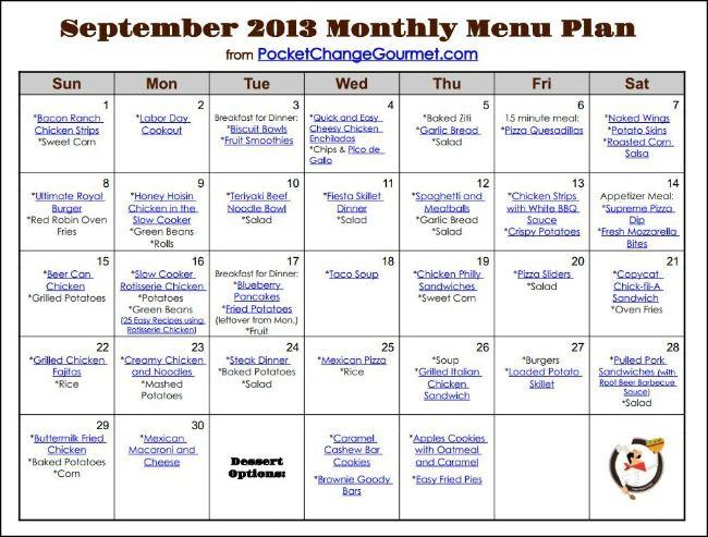 dinner menu calendar