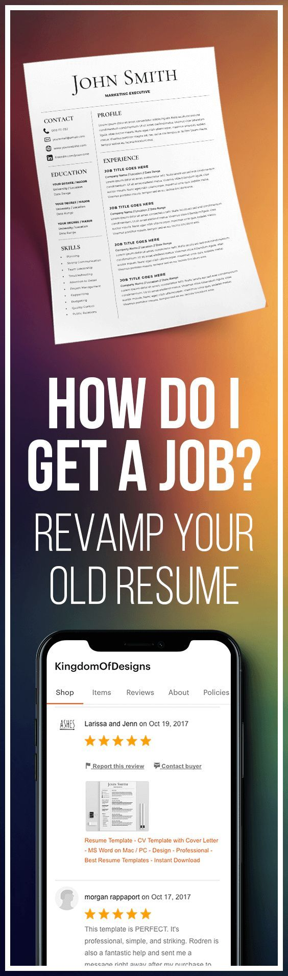 How Do I Get a Job? Resume Template - CV Template - Free Cover ...