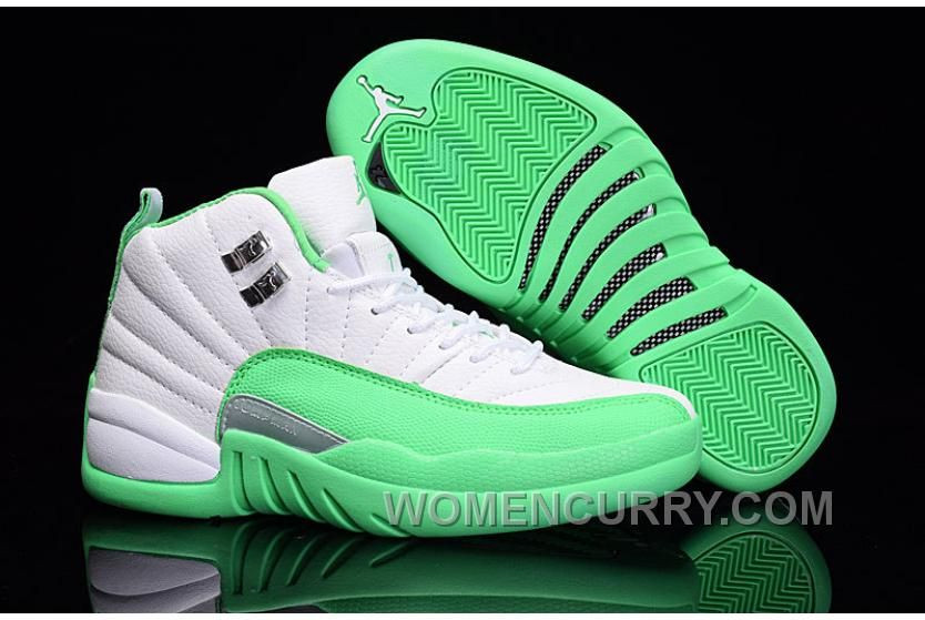 11825ac06782b9 2017 Girls Air Jordan 12 White Green For Sale Top Deals J6X3T in ...