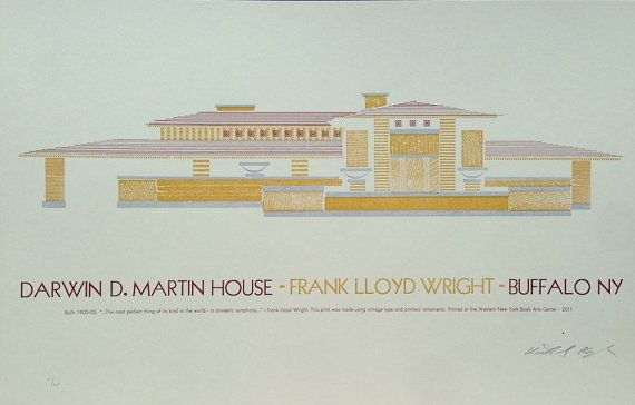 darwin d  martin house architectural letterpress print by