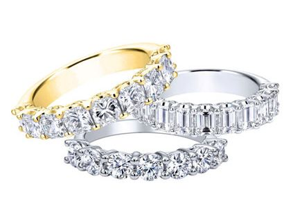white and yellow gold anniversary bands
