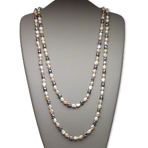 Pearl Cultured Freshwater Bleached Dyed Multicolored 6 8mm Flat Sided Rice Sold Per 58 Inch Knotted Continuous Strand Collares De Perlas Perlas