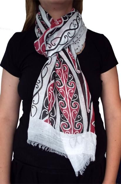 White Scarves Maori Koru Birthday Gifts For Her Beautiful Corporate