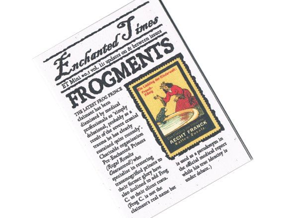 Frog Prince Fairytale Newspaper  Frogments by ETPrintworks on Etsy