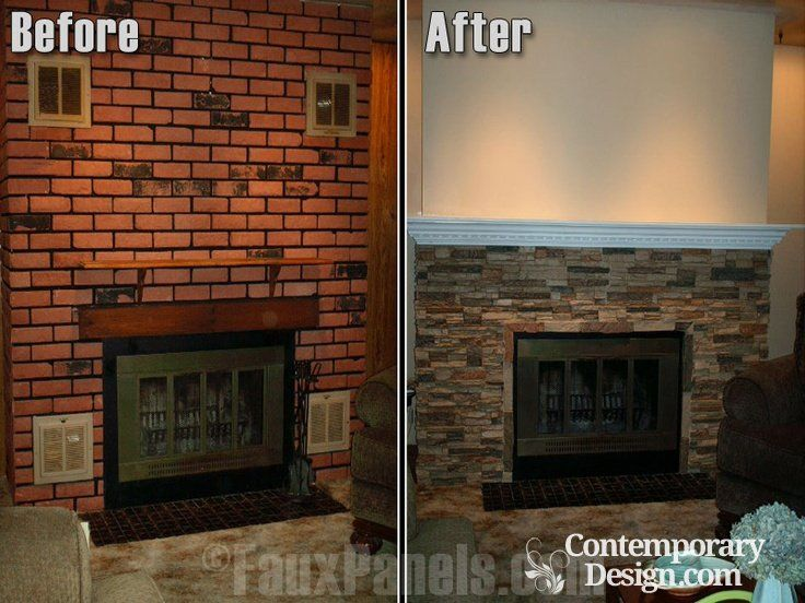 Red brick fireplace makeover | Brick fireplace makeover, Red brick ...