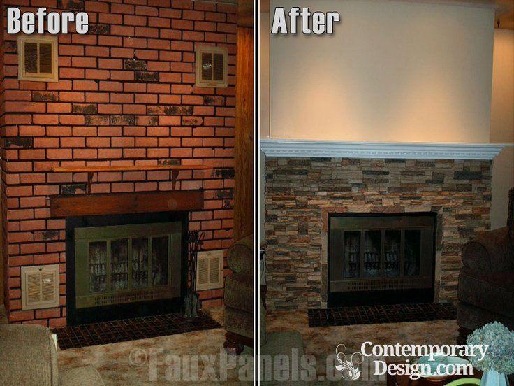 Red Brick Fireplace Makeover Brick Fireplace Bricks And Fireplace