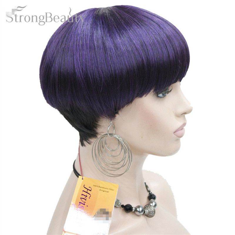 Strong Beauty Short Wigs Women Synthetic Fiber Full Capless Wig
