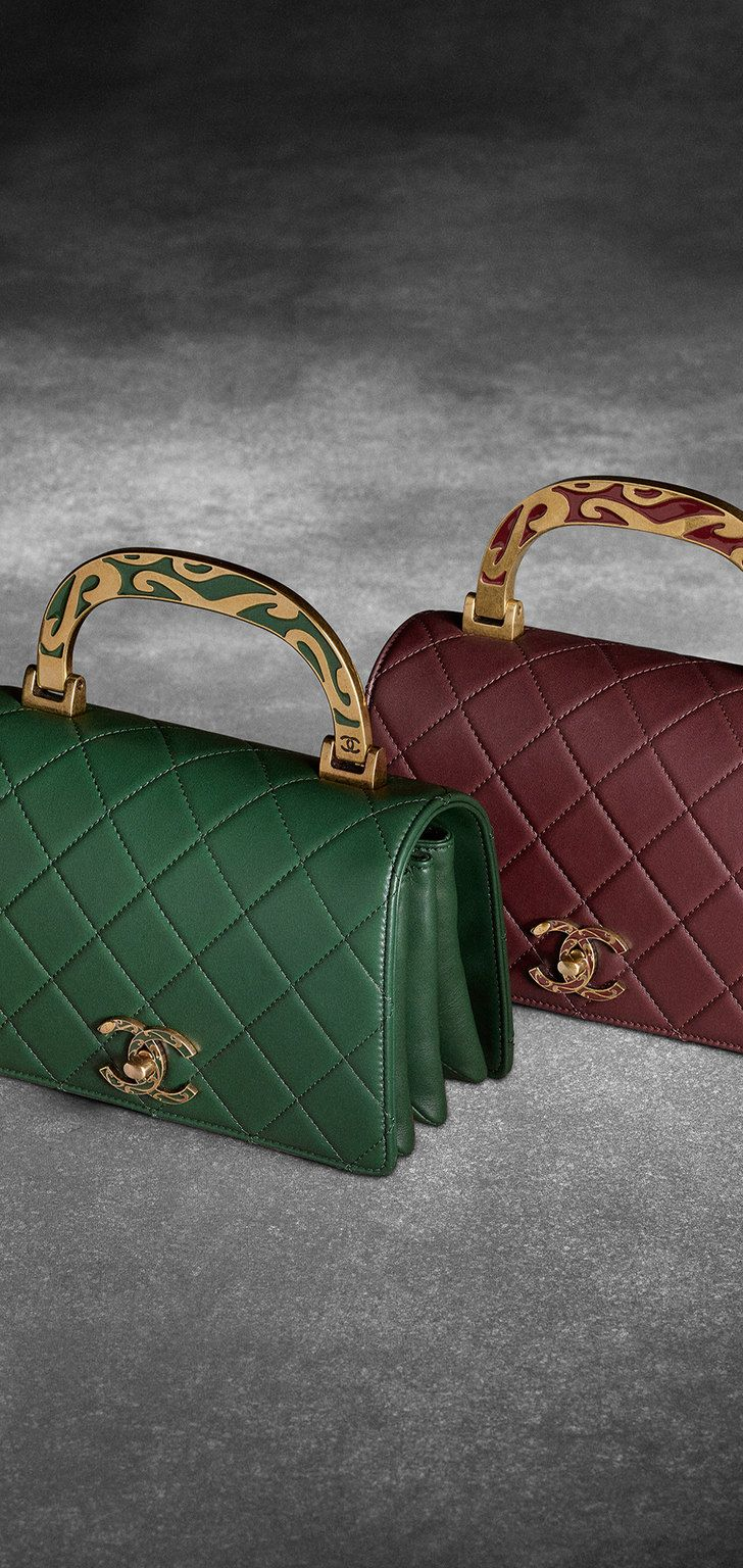 190c0d09cc47 Fall-winter 2015/16 - Calfskin flap bag with enamel handle | Fashion ...