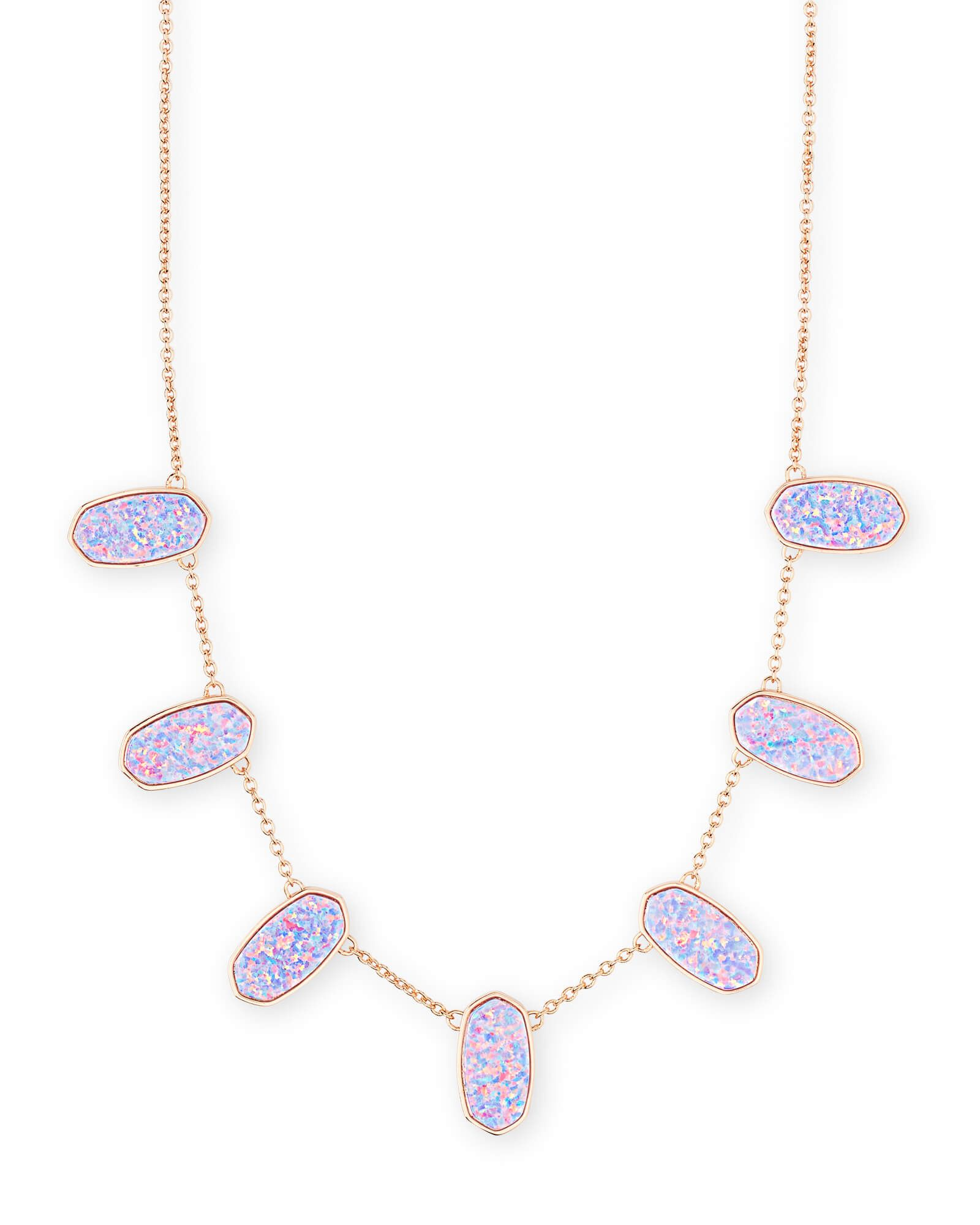 Meadow Rose Gold Statement Necklace In Lavender Kyocera Opal Kendra Scott Gold Collar Necklace Rose Gold Statement Necklace Kyocera Opal
