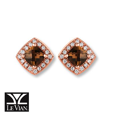 Le Vian Quartz Earrings 1/15 ct tw Diamonds 14K Strawberry Gold 2PBwERLAs