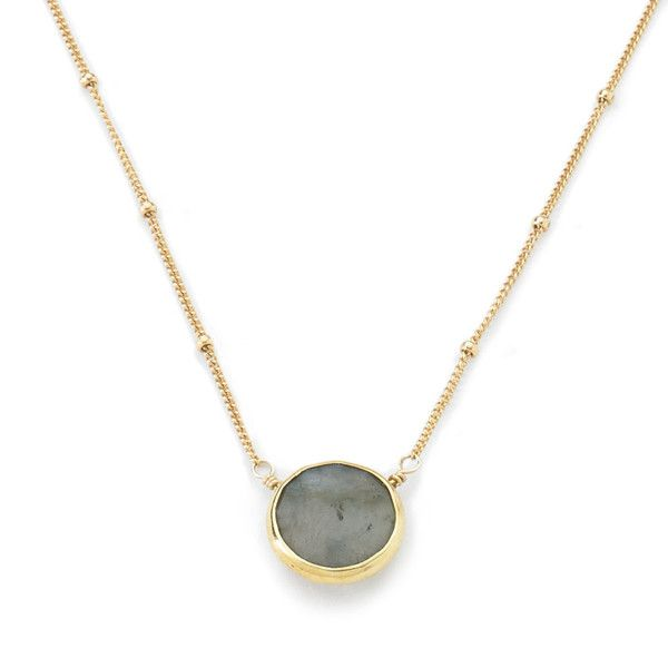 Bezel set stone floats delicately on this stylish ball chain.Materials: Our necklace chains are made from brass and hand dipped in 24k gold. All of our stones a