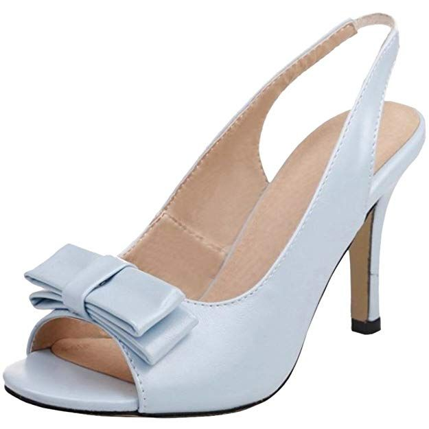 919bd06d248  41.86 TAOFFEN Women Sweet Slingback Sandals Peep Toe Summer Shoes Blue  Size 40 Asian