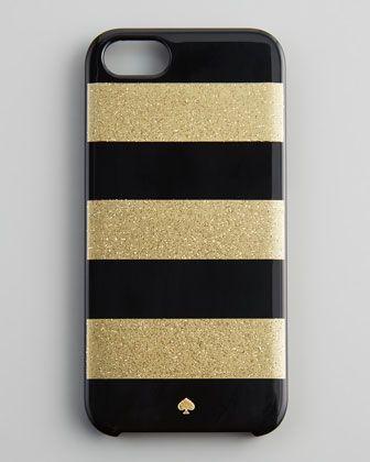 { glitter jubilee striped i Phone 5 case, black/gold - Kate Spade New York }