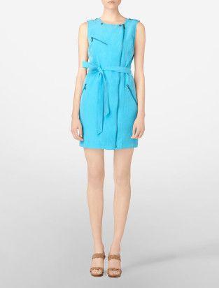 solid belted utility zip-up dress - Dresses- Calvin Klein