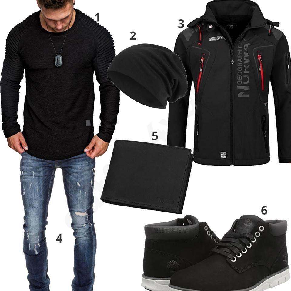 schwarzer pullover jeans und jacke