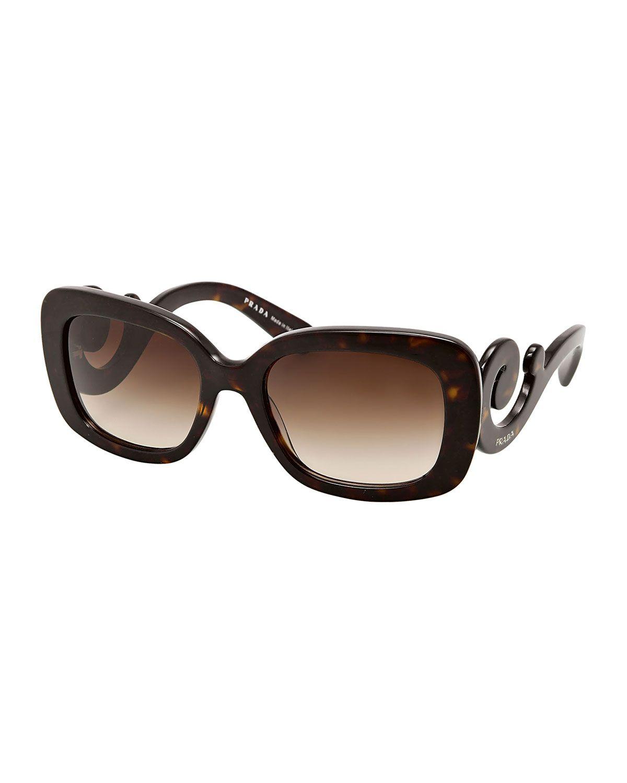 93702e4acfdf1 Curved-Temple Sunglasses, Havana, Women s - Prada Prada Óculos De Sol,  Óculos