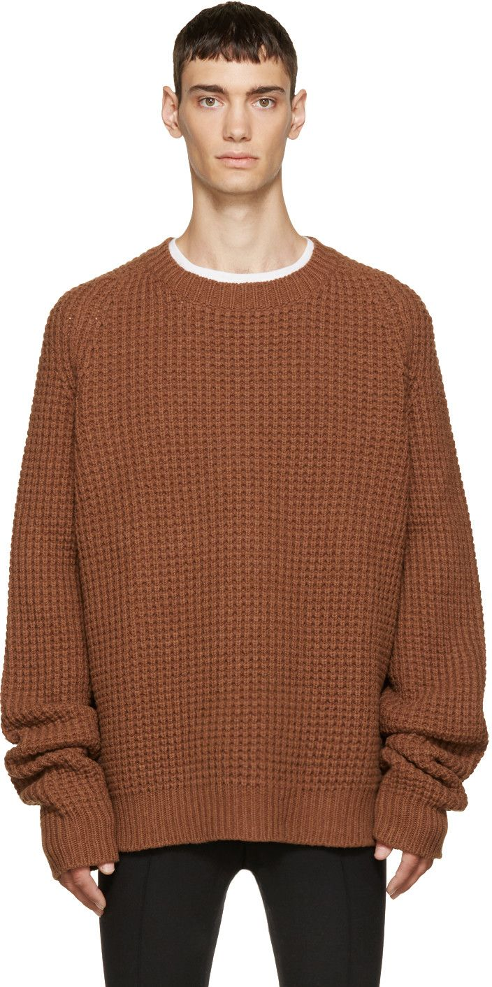 Oversize thick-knit sweater in brown. Ribbed crewneck collar ...