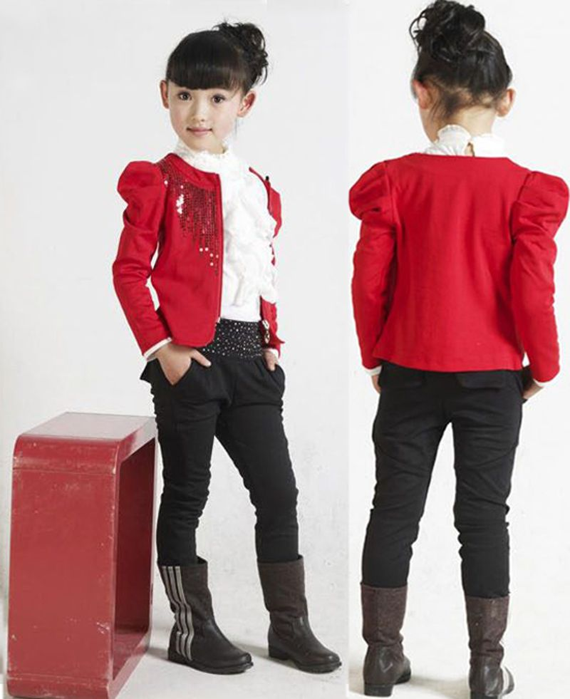 biggest discount cute new specials 3 piece sets child big kids Clothes new brand long sleeved T shirt ...