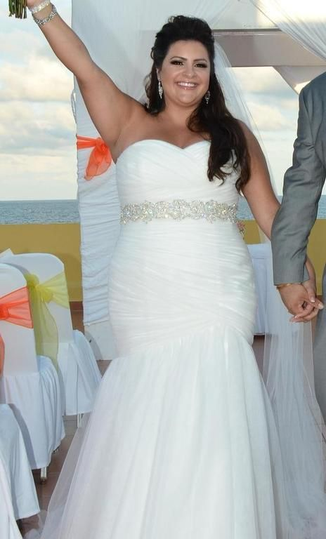 An empire waist plus size wedding dress made with a for Around the neck wedding dresses