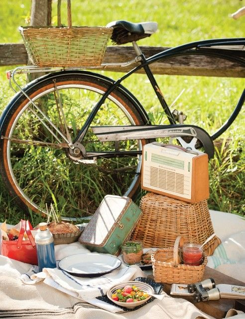 Vintage picnic via Alpenstrasse  Possibly on a Hendrick's bike?  How many bikes do we have?