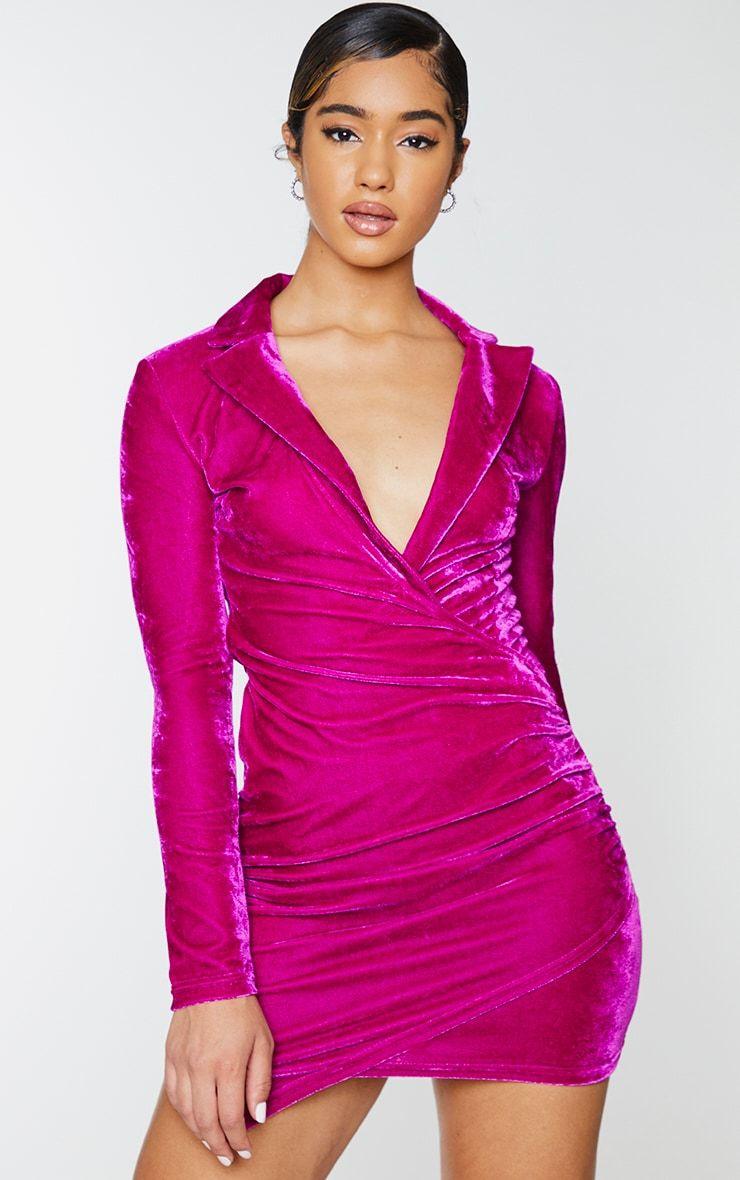 Fuchsia Velvet Long Sleeve Plunge Wrap Bodycon Dress Bodycon Dress Plunge Bodycon Dress Dresses [ 1180 x 740 Pixel ]