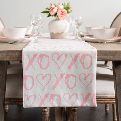 Pink XOXO and Hearts Table Runner