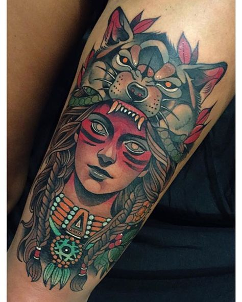 Instagram Post By Johnny Domus Johnny Domus Mesquita With Images Headdress Tattoo Wolf Girl Tattoos Neo Traditional Tattoo